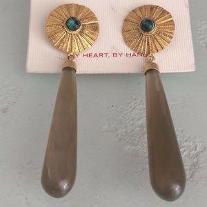 Bohemian Turquoise Brass Medallion Drop Earrings
